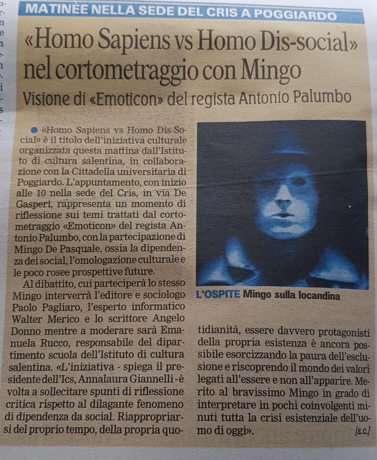 """Gazzetta del Mezzogiorno - 18/11/2017 - """"Homo Sapiens vs Homo Dis-social"""" nel cortometraggio con Mingo"""