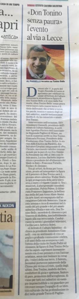 """""""Don Tonino senza paura"""" l'evento al via a Lecce"""